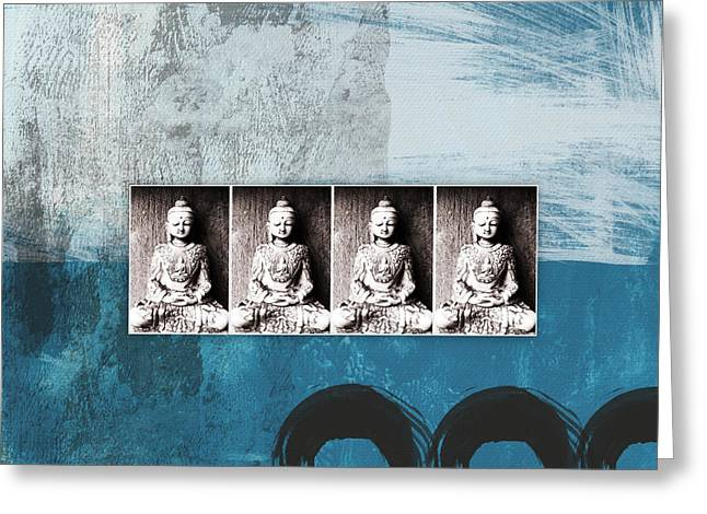 Field Mixed Media Greeting Cards - Buddhas In Blue- Contemporary Art by Linda Woods. Greeting Card by Linda Woods