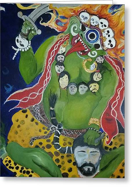 Religious Mixed Media Greeting Cards - Buddhist  Diety  Greeting Card by Gc Langis