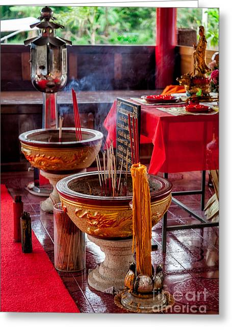 Buddhist Digital Greeting Cards - Buddhist Incense Greeting Card by Adrian Evans