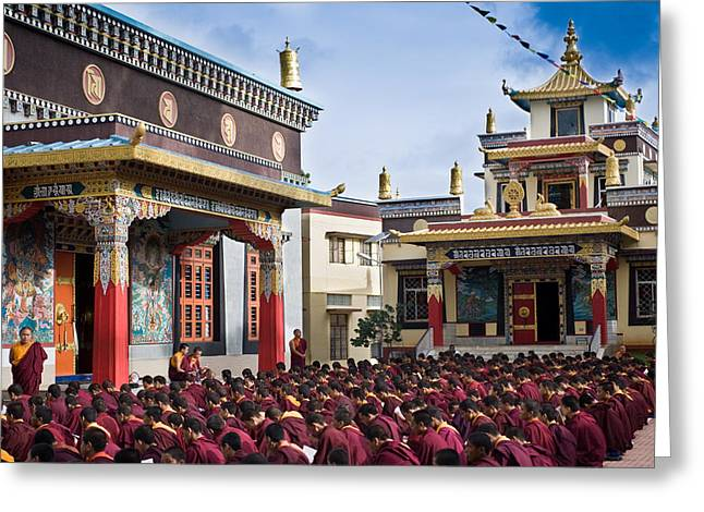 Chanting Greeting Cards - Buddhist Monastery in full attendance Greeting Card by Nila Newsom