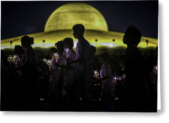 Monk-religious Occupation Greeting Cards - Buddhist Monks at Wat Dhamma Sunset 2 Greeting Card by David Longstreath