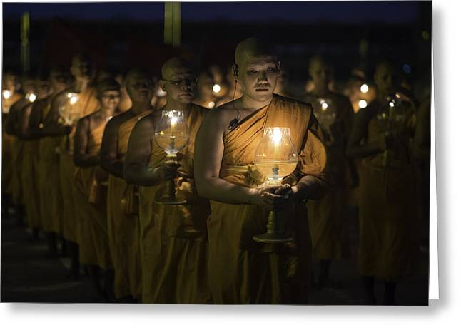 Monk-religious Occupation Greeting Cards - Buddhist Monks at Wat Dhamma Sunset 3 Greeting Card by David Longstreath
