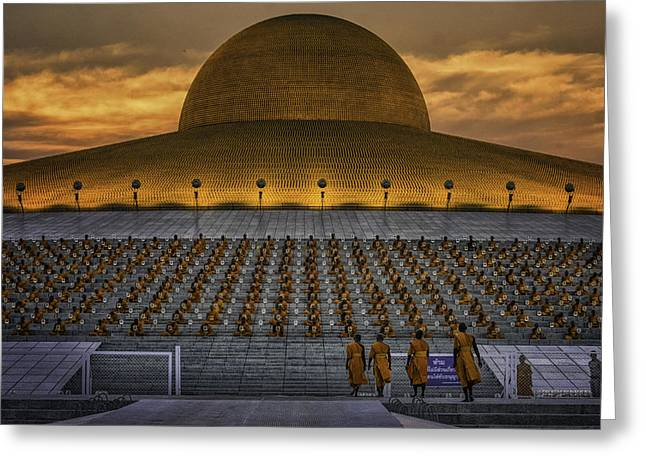 Monk-religious Occupation Greeting Cards - Buddhist Monks at Wat Dhammakaya Greeting Card by David Longstreath