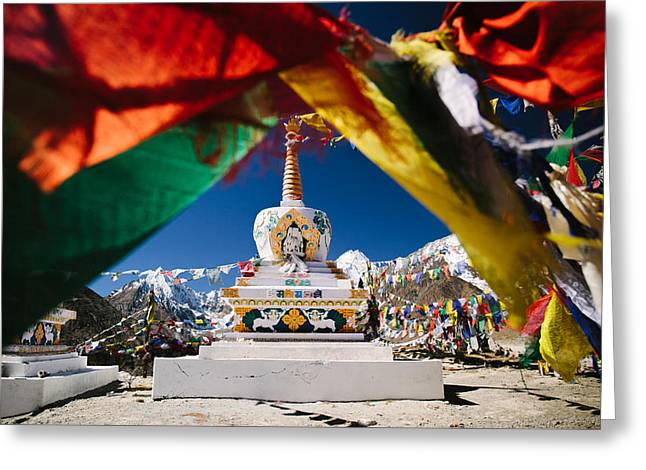 Tibetan Buddhism Greeting Cards - Buddhist Stupa surrounded by prayer flags in Indian Himalayas of Ladakh Greeting Card by Quynh Anh Nguyen