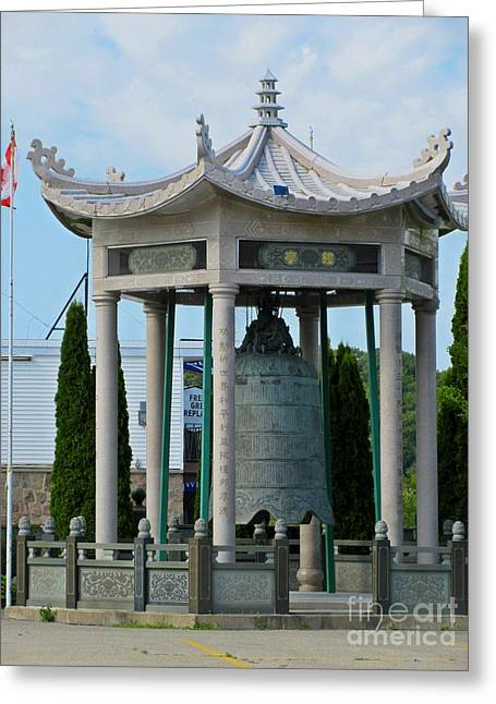 Zen Sculptures Greeting Cards - Buddhist Temple Bell Greeting Card by Crystal Loppie