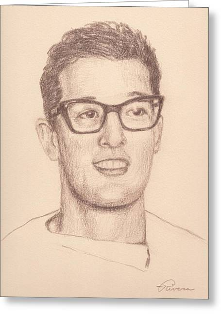 Fender Strat Drawings Greeting Cards - Buddy Holly Greeting Card by Reggie Rivera