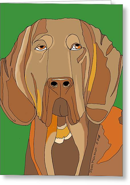 Blood Hound Greeting Cards - Buddy Greeting Card by Joan Mansson