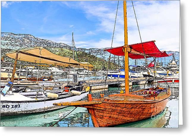Panoramic Ocean Greeting Cards - Budva Marina Greeting Card by Linda Arnado