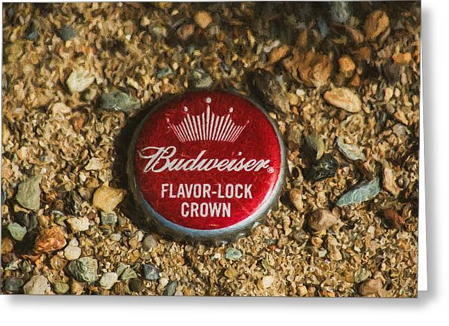 Budweiser Bottle Cap On The Beach Greeting Card by Black Brook Photography