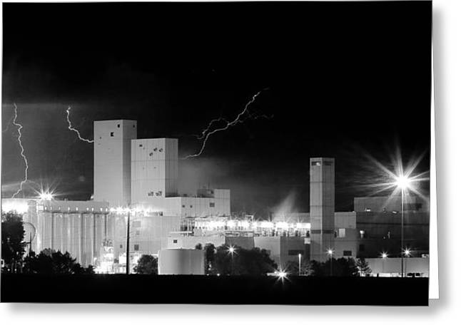 Budlight Greeting Cards - Budweiser  Brewery Lightning Thunderstorm Image 3918  BW Pano Greeting Card by James BO  Insogna
