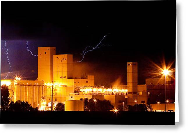 Budlight Greeting Cards - Budweiser Brewery Lightning Thunderstorm Image 3918 Panorama Greeting Card by James BO  Insogna