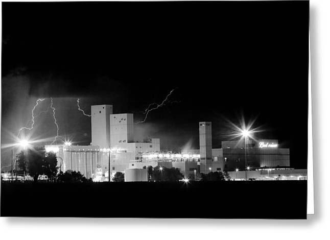 The Lightning Man Greeting Cards - Budwesier Brewery Lightning Thunderstorm Image 3918  BW Greeting Card by James BO  Insogna
