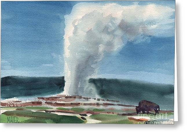 Geyser Greeting Cards - Buffalo and Geyser Greeting Card by Donald Maier