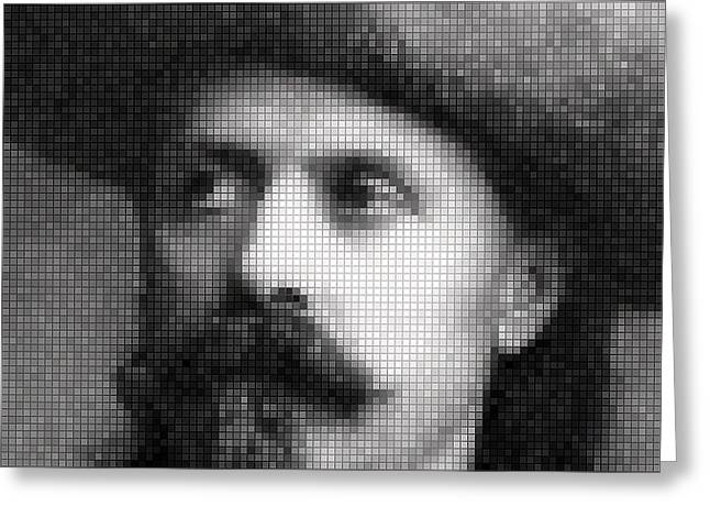 Old West; Wild West; Great Plains; Cowboy; Cowboys; Riding; Horseback; Horse; Rider; Lasso; Stetson; Stetsons; Us; Usa; Rancher; Ranchers Greeting Cards - Buffalo Bill Cody Mosaic Greeting Card by Daniel Hagerman