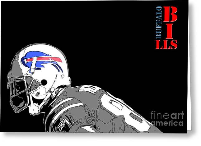 Buffalo Bills Football Team And Original Typography Greeting Card by Pablo Franchi
