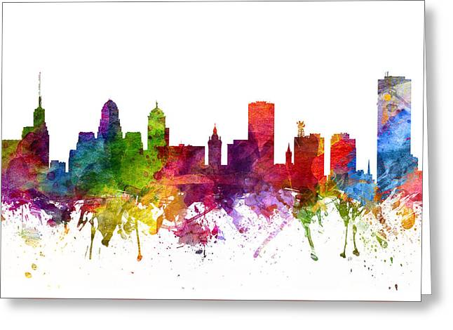 Skylines Drawings Greeting Cards - Buffalo Cityscape 06 Greeting Card by Aged Pixel