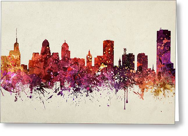 Buffalo Greeting Cards - Buffalo Cityscape 09 Greeting Card by Aged Pixel