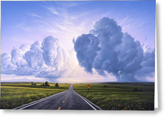 Roads Greeting Cards - Buffalo Crossing Greeting Card by Jerry LoFaro