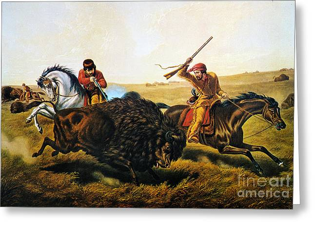 Destiny Greeting Cards - Buffalo Hunt, 1862 Greeting Card by Granger
