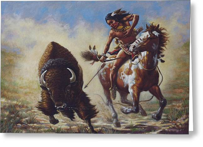Sioux Greeting Cards - Buffalo Hunter Greeting Card by Harvie Brown