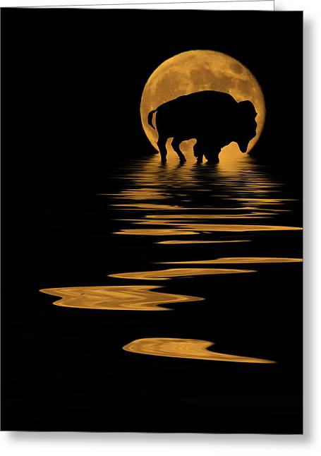 Evening Lights Mixed Media Greeting Cards - Buffalo In The Moonlight Greeting Card by Shane Bechler