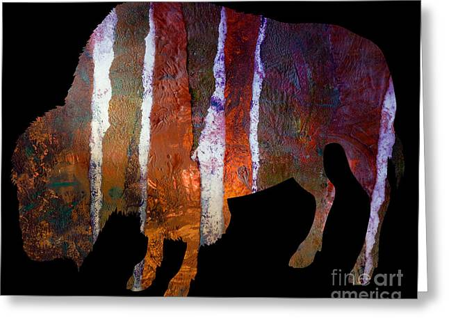 Printmaking Greeting Cards - Buffalo Greeting Card by Laura L Leatherwood