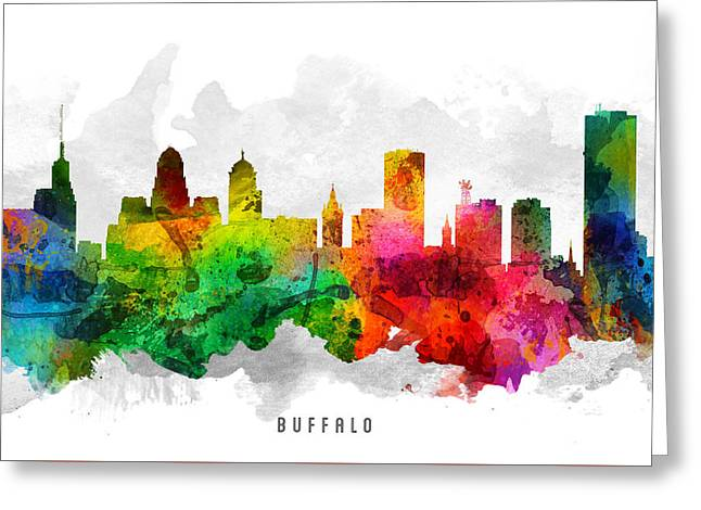 Buffalo Digital Greeting Cards - Buffalo New York Cityscape 12 Greeting Card by Aged Pixel