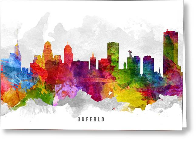 Buffalo Digital Greeting Cards - Buffalo New York Cityscape 13 Greeting Card by Aged Pixel