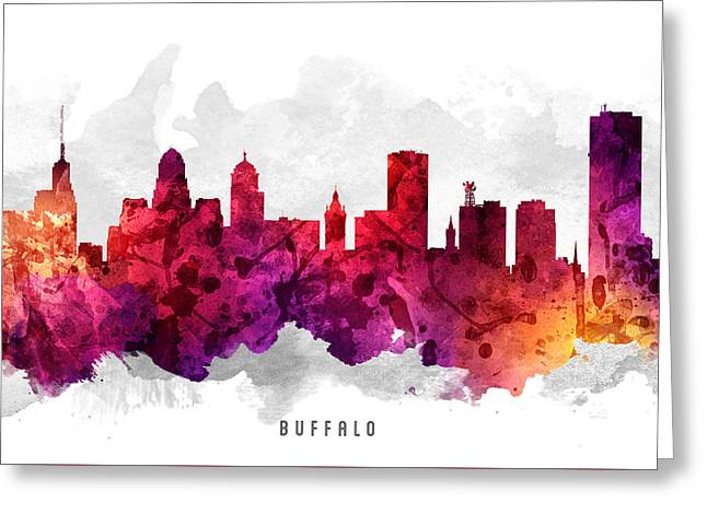 Buffalo Digital Greeting Cards - Buffalo New York Cityscape 14 Greeting Card by Aged Pixel