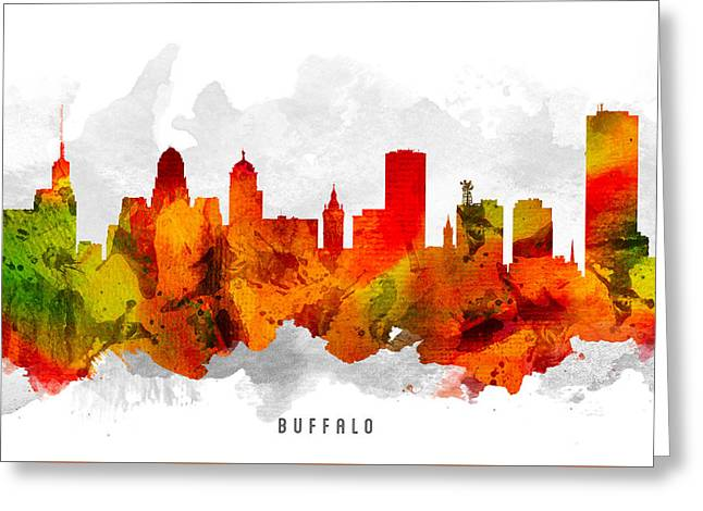 Buffalo Digital Greeting Cards - Buffalo New York Cityscape 15 Greeting Card by Aged Pixel