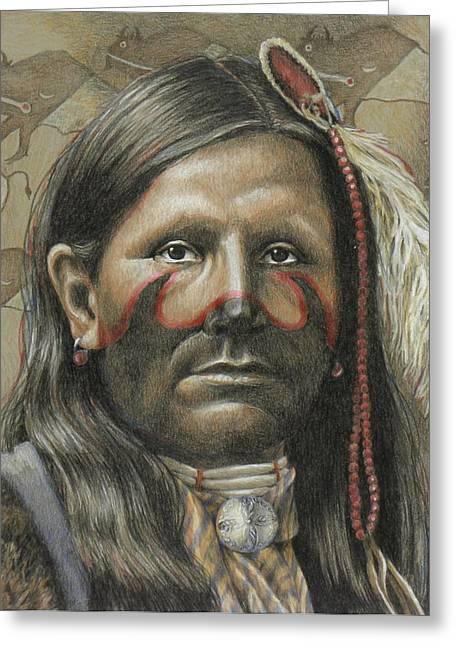 Indigenous Drawings Greeting Cards - Buffalo Runner Greeting Card by Joe Belt