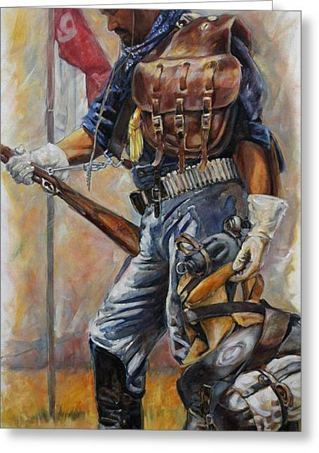 Bag Greeting Cards - Buffalo Soldier Outfitted Greeting Card by Harvie Brown