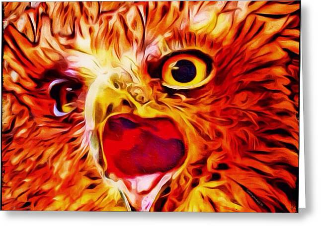 Observer Greeting Cards - Buffy Fish Owl Portrait Greeting Card by Scott Wallace