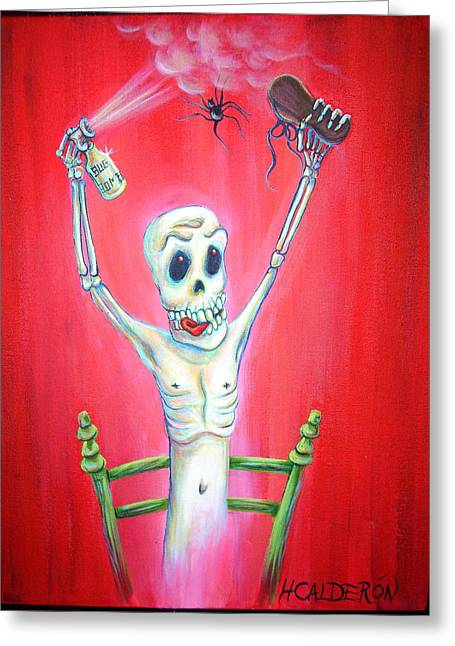 Quirky Paintings Greeting Cards - Bug Bomb Greeting Card by Heather Calderon
