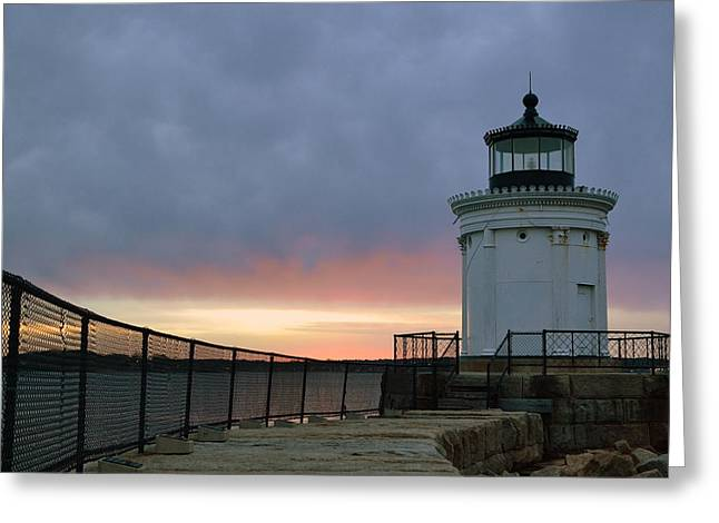 Maine Lighthouses Greeting Cards - Bug Light at Dawn Greeting Card by Colleen Phaedra