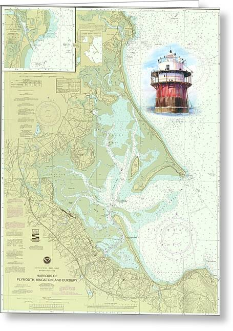 Duxbury Greeting Cards - Bug Light on a NOAA Chart Greeting Card by P Anthony Visco