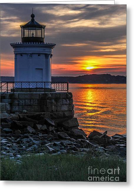 Maine Lighthouses Greeting Cards - Bug Light Sunrise Greeting Card by Joe Far Photos