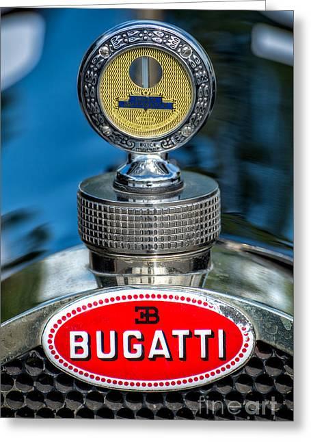 Motometer Greeting Cards - Bugatti Car Emblem Greeting Card by Adrian Evans