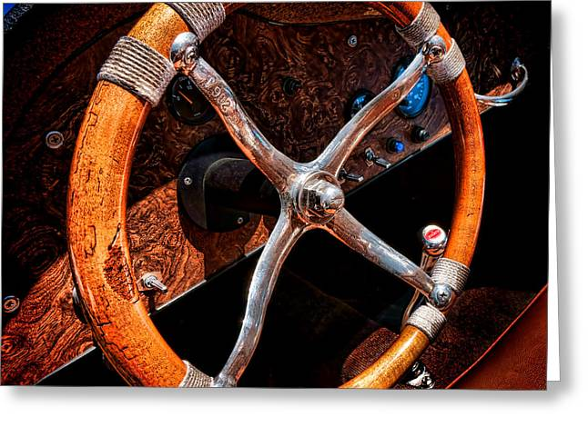 Steering Greeting Cards - Bugatti Steering Wheel  Greeting Card by Olivier Le Queinec