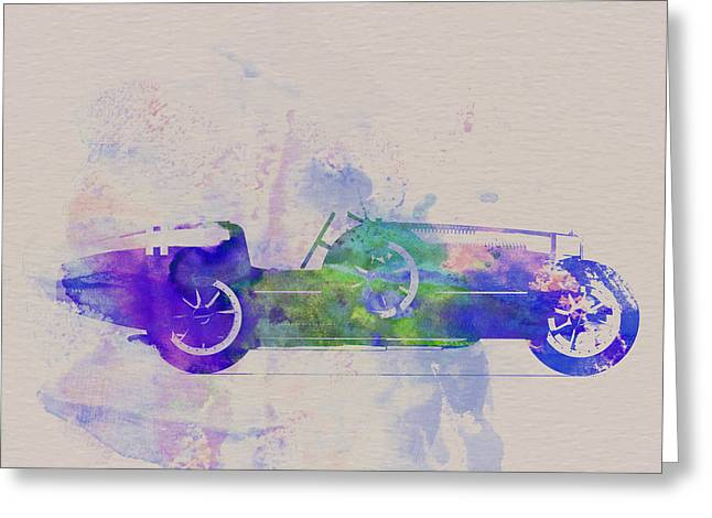 Classic Drawings Greeting Cards - Bugatti Type 35 R Watercolor 2 Greeting Card by Naxart Studio