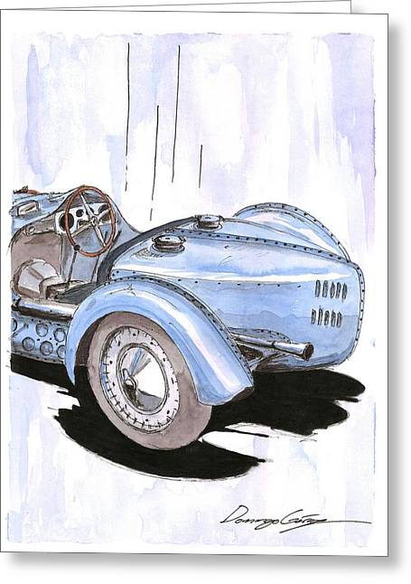 Rivets Paintings Greeting Cards - Bugatti type 59 Gran Prix Greeting Card by Domingo Gorriz