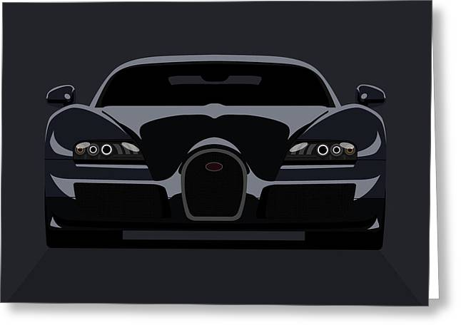Powerful Greeting Cards - Bugatti Veyron Dark Greeting Card by Michael Tompsett