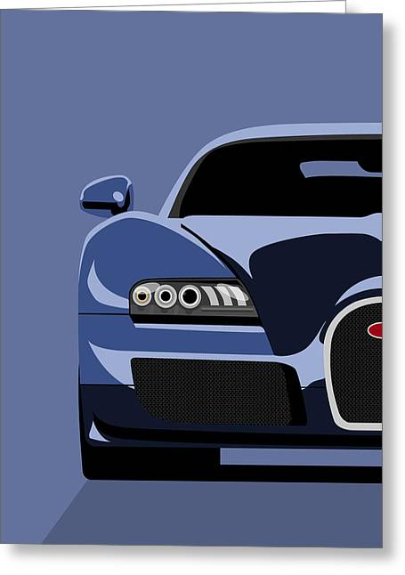 Blue Car. Greeting Cards - Bugatti Veyron Greeting Card by Michael Tompsett