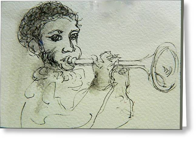 African-american Drawings Greeting Cards - Bugle Boy Greeting Card by Pete Maier