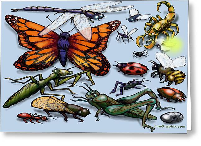 Bugs Greeting Card by Kevin Middleton