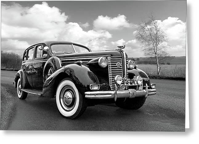 Powerful Car Greeting Cards - Buick 8 1938 Sedan Greeting Card by Gill Billington