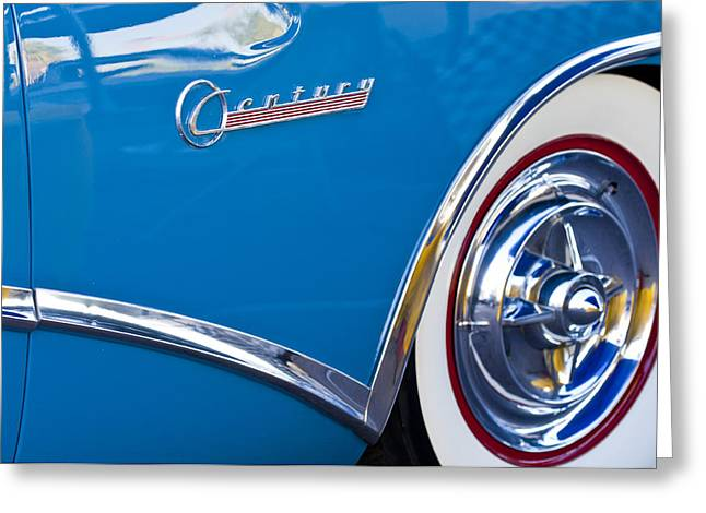 Blue Buick Greeting Cards - Buick Century Wheel Greeting Card by Jill Reger