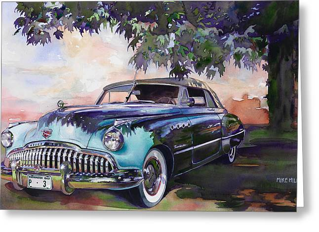 Forties Paintings Greeting Cards - Buick Roadmaster Dynaflow 1949 Greeting Card by Mike Hill