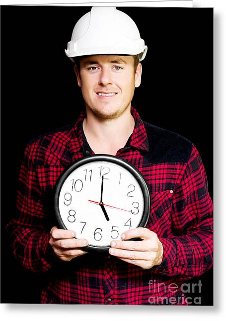 Builder With Clock Showing Home Time Greeting Card by Jorgo Photography - Wall Art Gallery