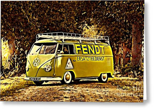 Builders Bus Greeting Card by Steven Poulton